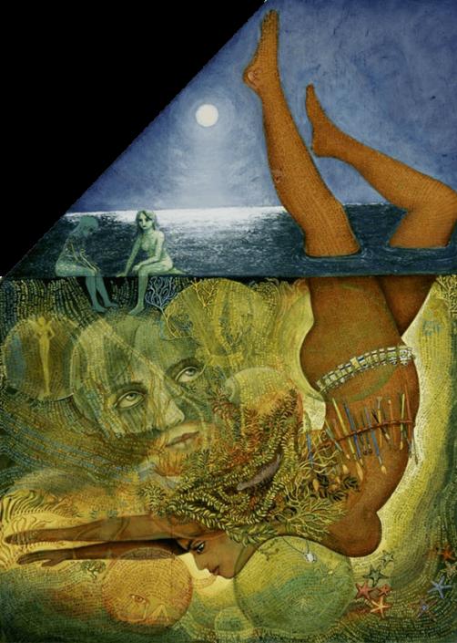 Retrieval, magical realism painting ny Irene Olivieri